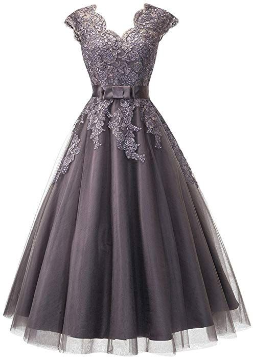 c2a966d5567d LeoGirl Womens Tea Length V-Neck Floral Lace Tulle Prom Dresses Cap Sleeve  Homecoming Wedding Guest Dress (4, Gray) at Amazon Women's Clothing store: