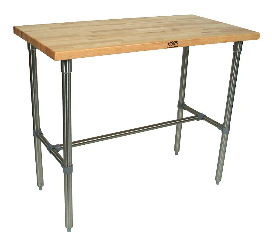 """John+Boos+Cucina+Classico+Maple+&+Stainless+Steel+Table+-+48""""+Long at http://butcherblockco.com"""