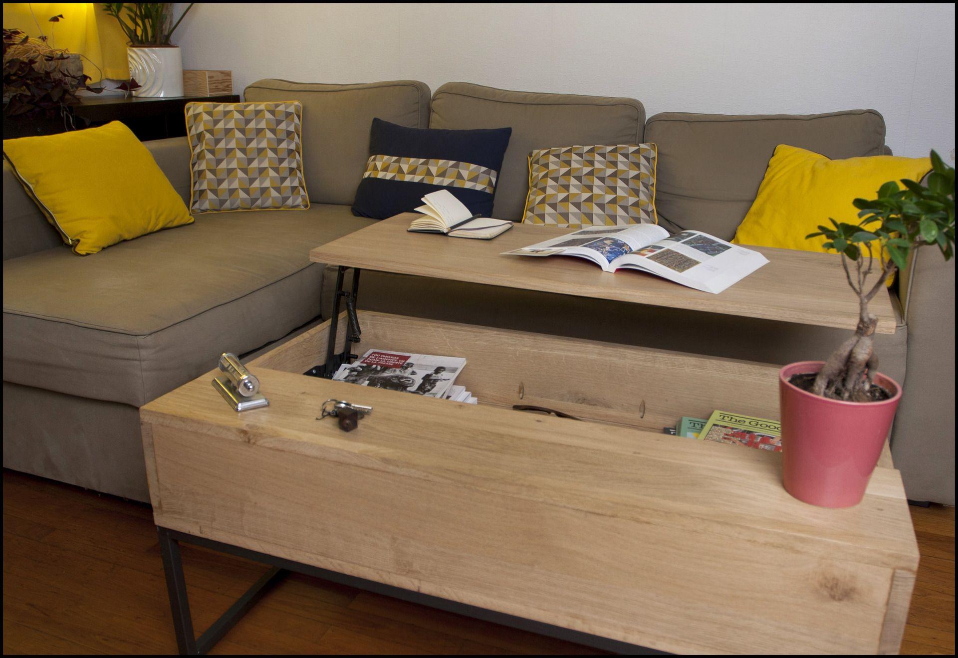 table basse ch ne plateau relevable meubles et rangements par glennsoulart tables tables. Black Bedroom Furniture Sets. Home Design Ideas