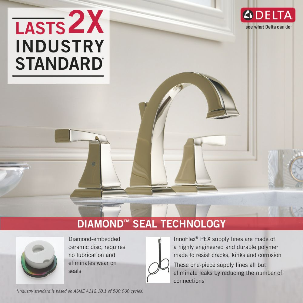 Delta Faucet 3551LF-PN Dryden Polished Nickel Two Handle Widespread ...
