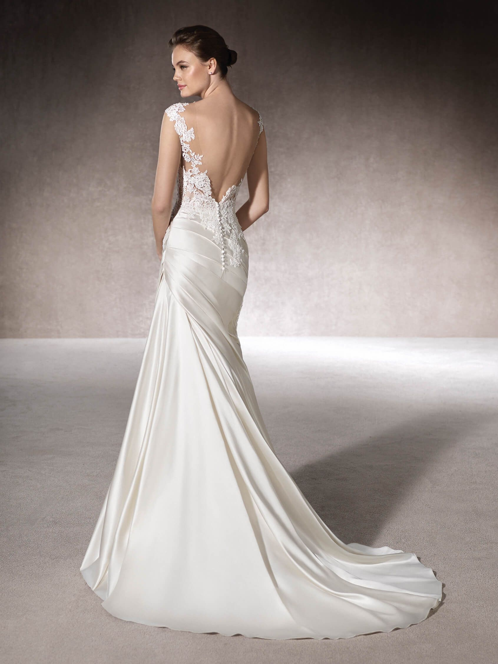 Modern Long Draped Satin St. Patrick MERCY Style Wedding Dress with ...