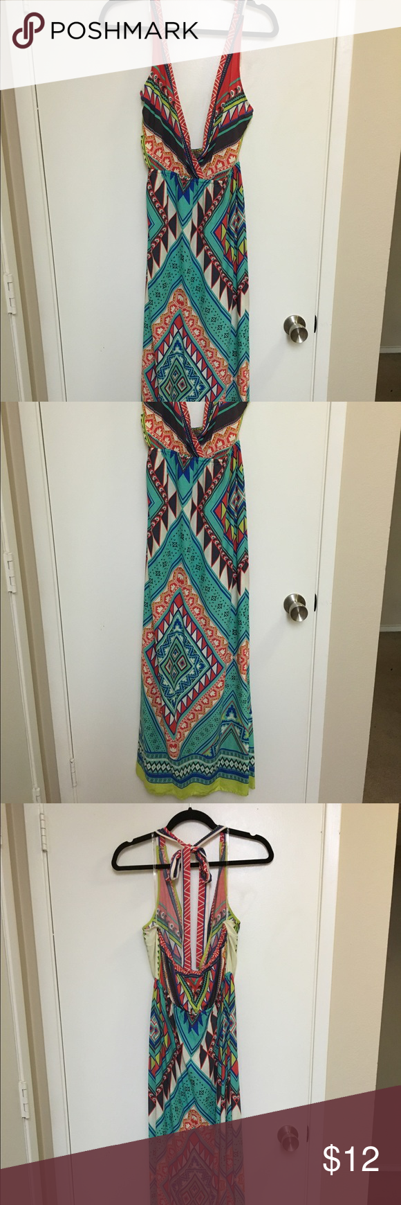 Beautiful multicolor Long Maxi Summer Dress EUC, 100% Rayon- beautiful colors and very versatile . Unfortunately , I have a very small bust so the top section was too big (size A). Highly recommend this gorgeous and very comfortable dress. Fyling Tomato Dresses Maxi
