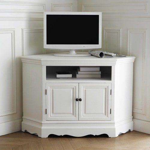 Porta-TV bianco ad angolo in legno di paulonia L 105 cm | Casa ...