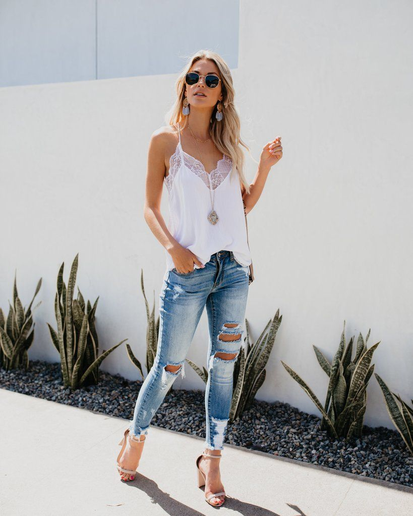 cf008adffb7 Delicate Balance Lace Cami Tank - White in 2019 | Spring & Summer ...
