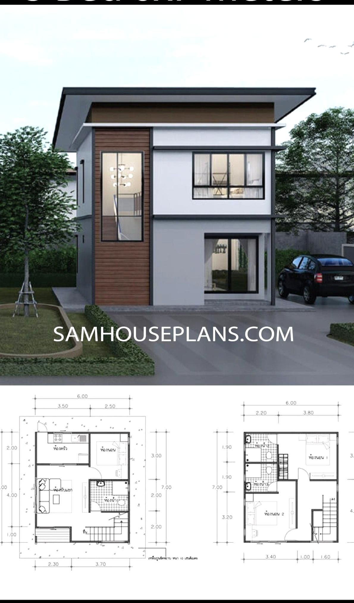 House Plans Idea 6x7 With 3 Bedrooms Sam House Plans Small Beach House Plans Small Modern House Plans Small Beach Houses