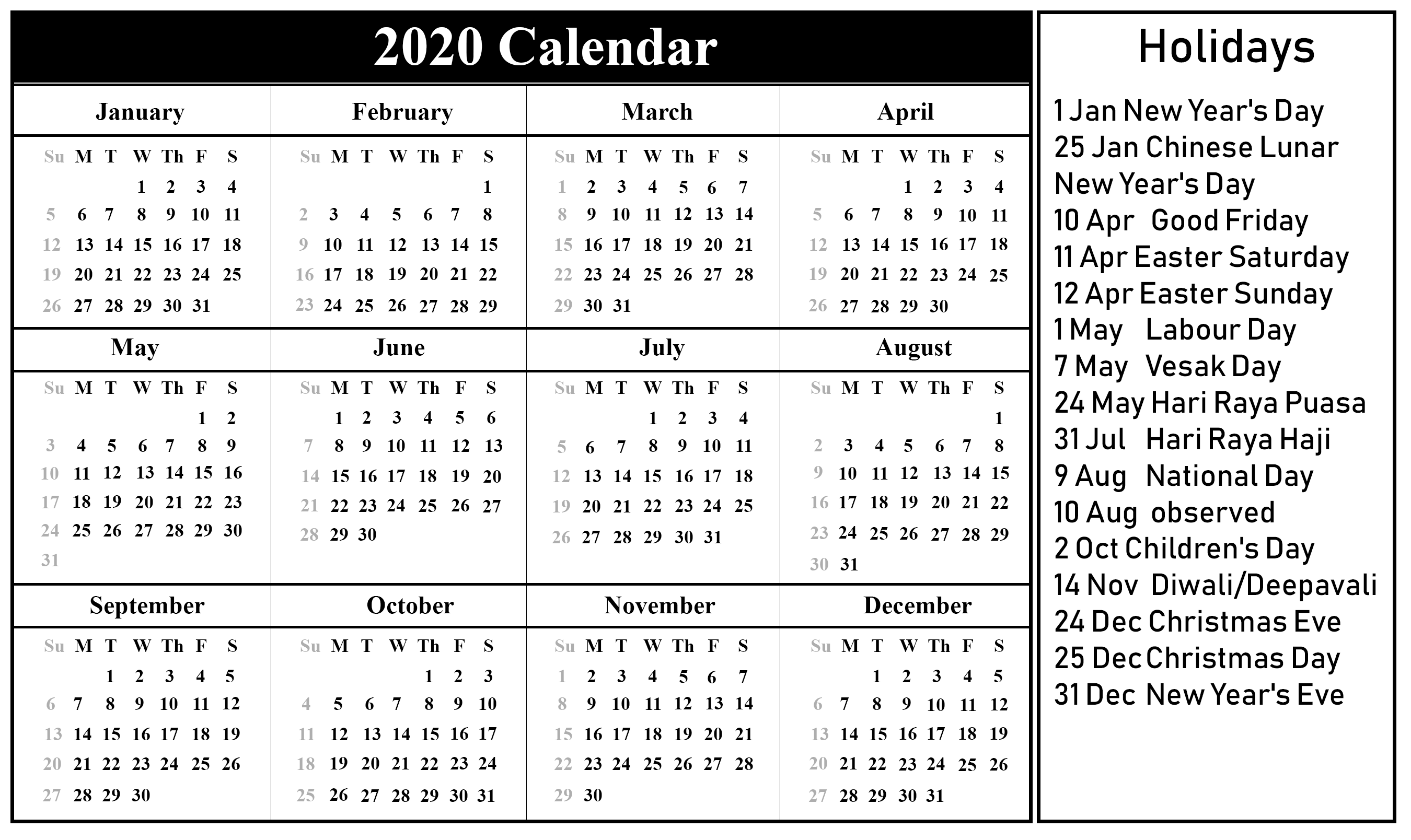 Free Printable Christmas Calendar 2020 Printable 2020 Calendar with Holidays | Holiday calendar printable