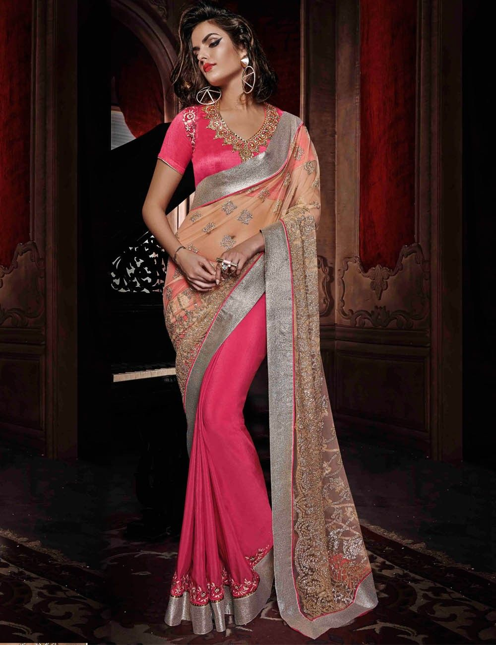Peach color saree for wedding beige and pink color designer party wear saree  fashion  indian