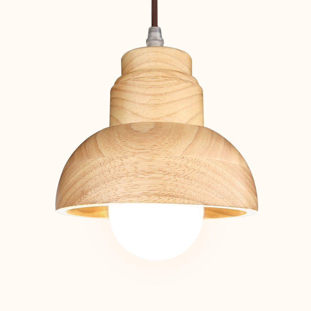 Wood Pendant Light, Aooshine Decorative Hanging Lamp, Wood Shade ...