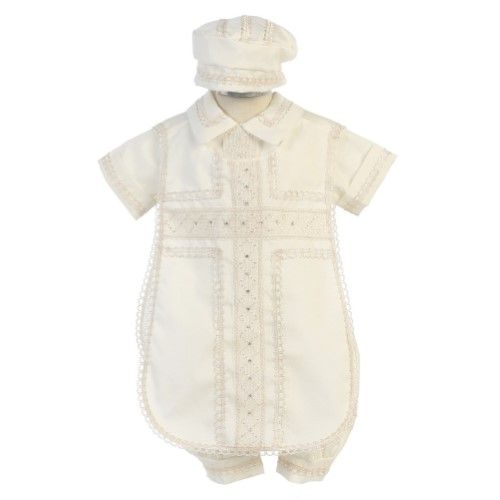 70dd2cb0e8ff Angels Garment Baby Boys Ivory Poly Shantung Diamond Stitched ...
