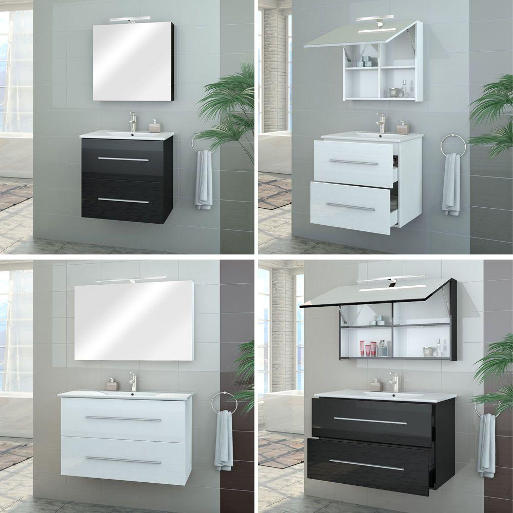 Badmöbel Set Hochglanz Badezimmer Spiegel Waschbecken