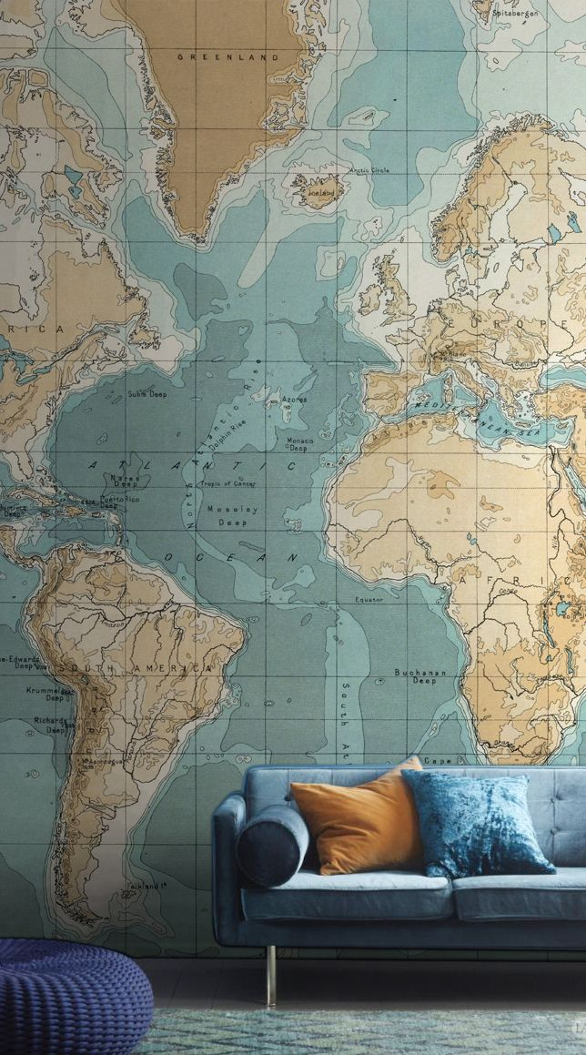 Bathyorographical vintage map mural muralswallpaper bathyorographical vintage map mural muralswallpaper gumiabroncs Gallery