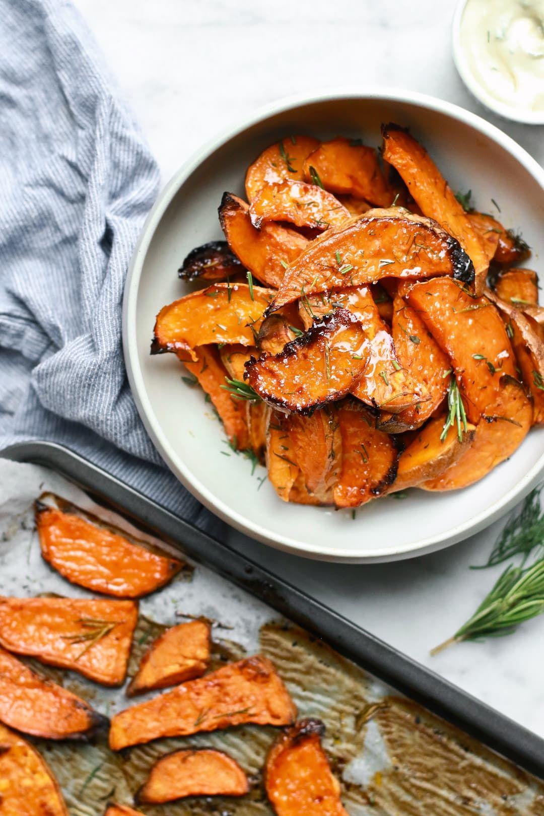 Sea Salt + Honey Caramelized Sweet Potatoes #sweetpotatorecipes
