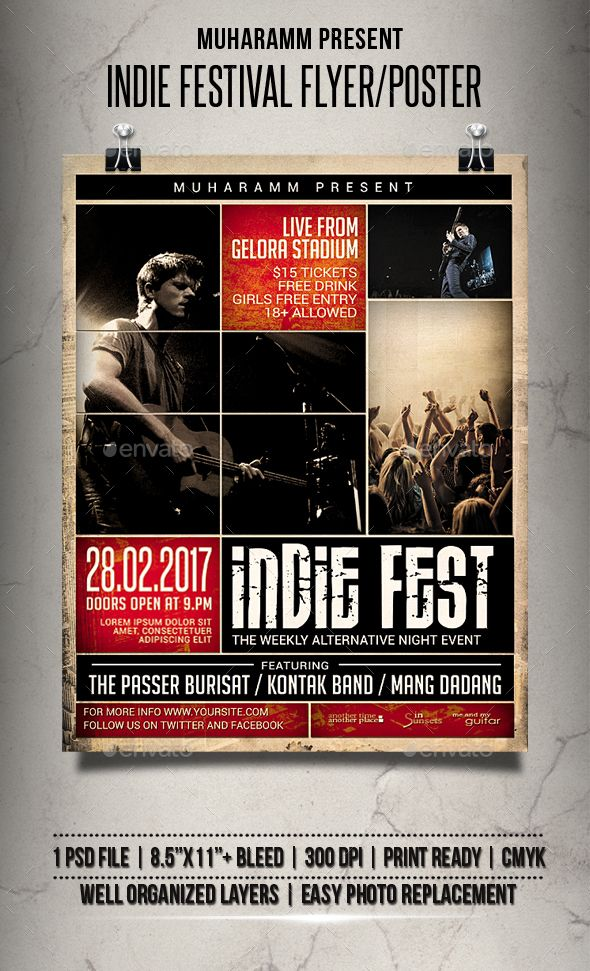 Indie Festival Flyer   Poster Indie, Template and Flyer template - open house flyer template