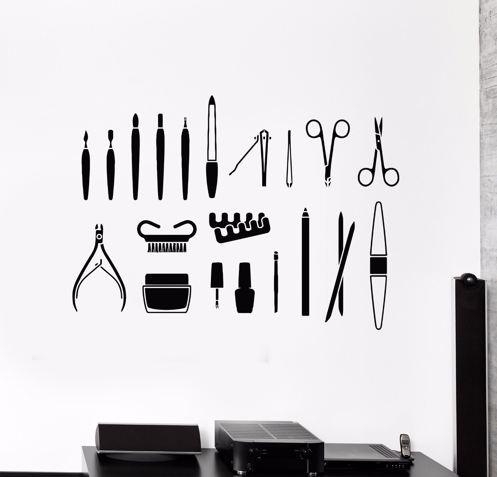 Details about Vinyl Wall Decal Beauty Salon Tools Nail