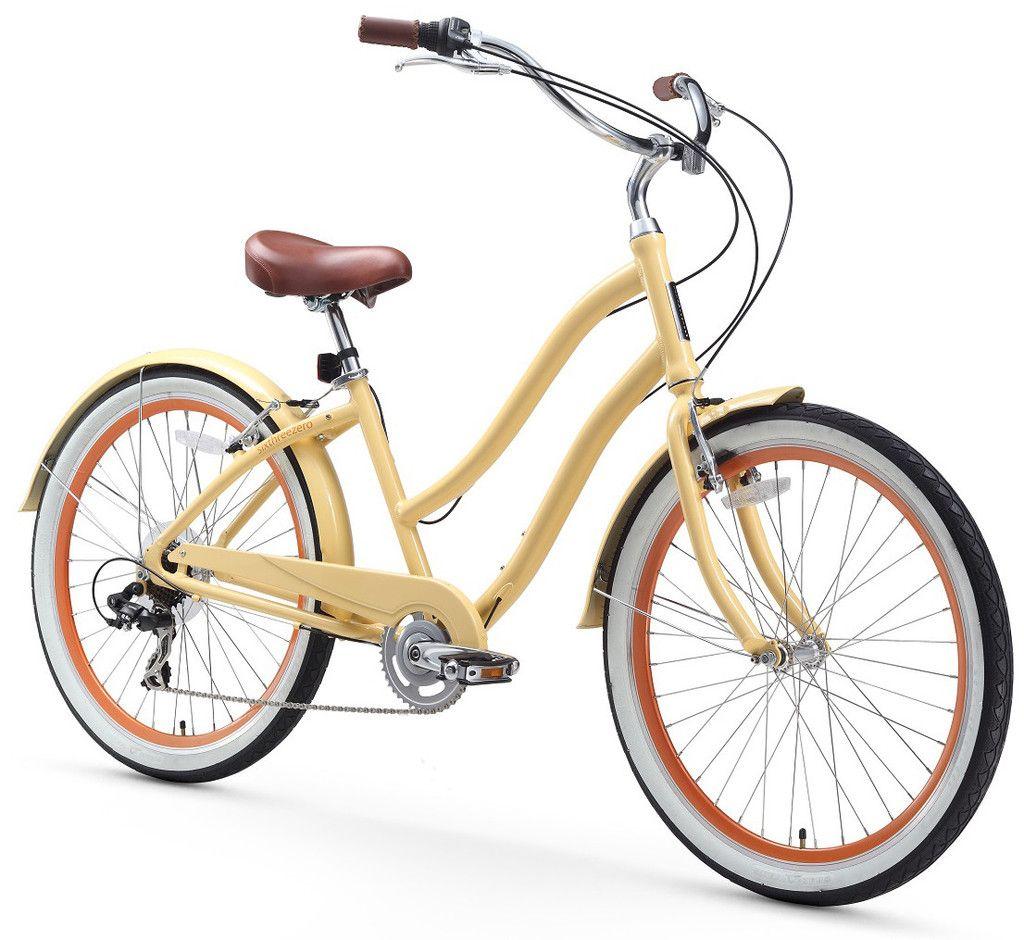 Sixthreezero evryjourney women s 26 inch 7 speed step through touring beach bikes