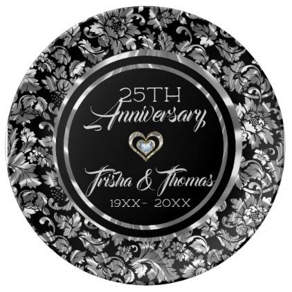 metallic silver and black damask 25th anniversary porcelain plate