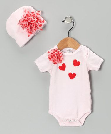 Take a look at this Pink Flower Heart Bodysuit & Beanie - Infant by Truffles Ruffles on #zulily today!