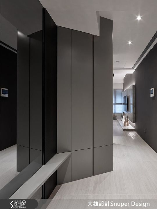 Modern. Monochrome Foyer. Mirror. Seats. Full Height Cabinets