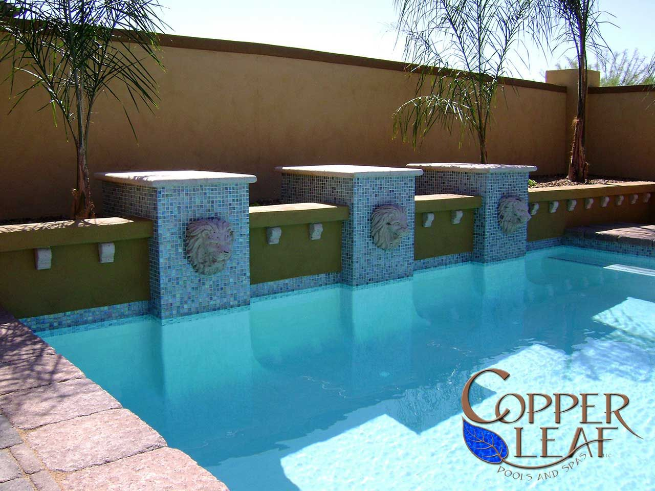 Geometric Pool Rectangular Pool With Glass Tile Columns Lion