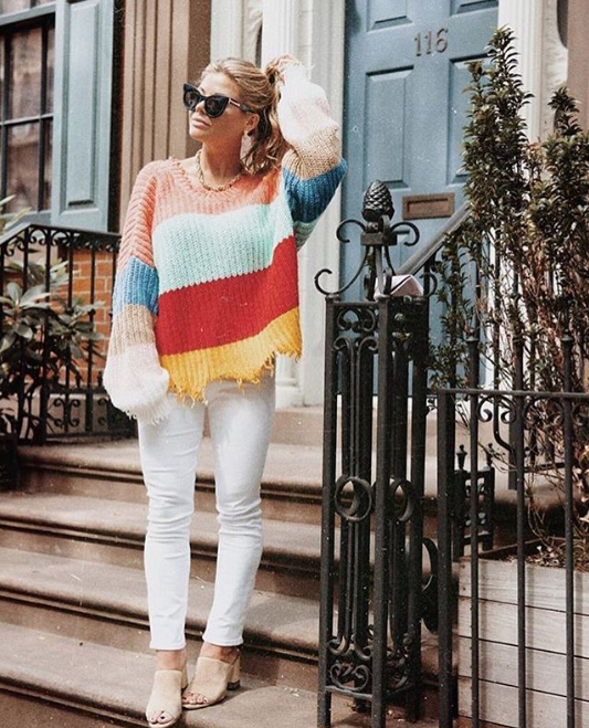 944f5188 White women's jeans and rainbow color block sweater for fall via blogger  New York style blogger Gillian Del Zotto #SilverJeans #BloggerStyle