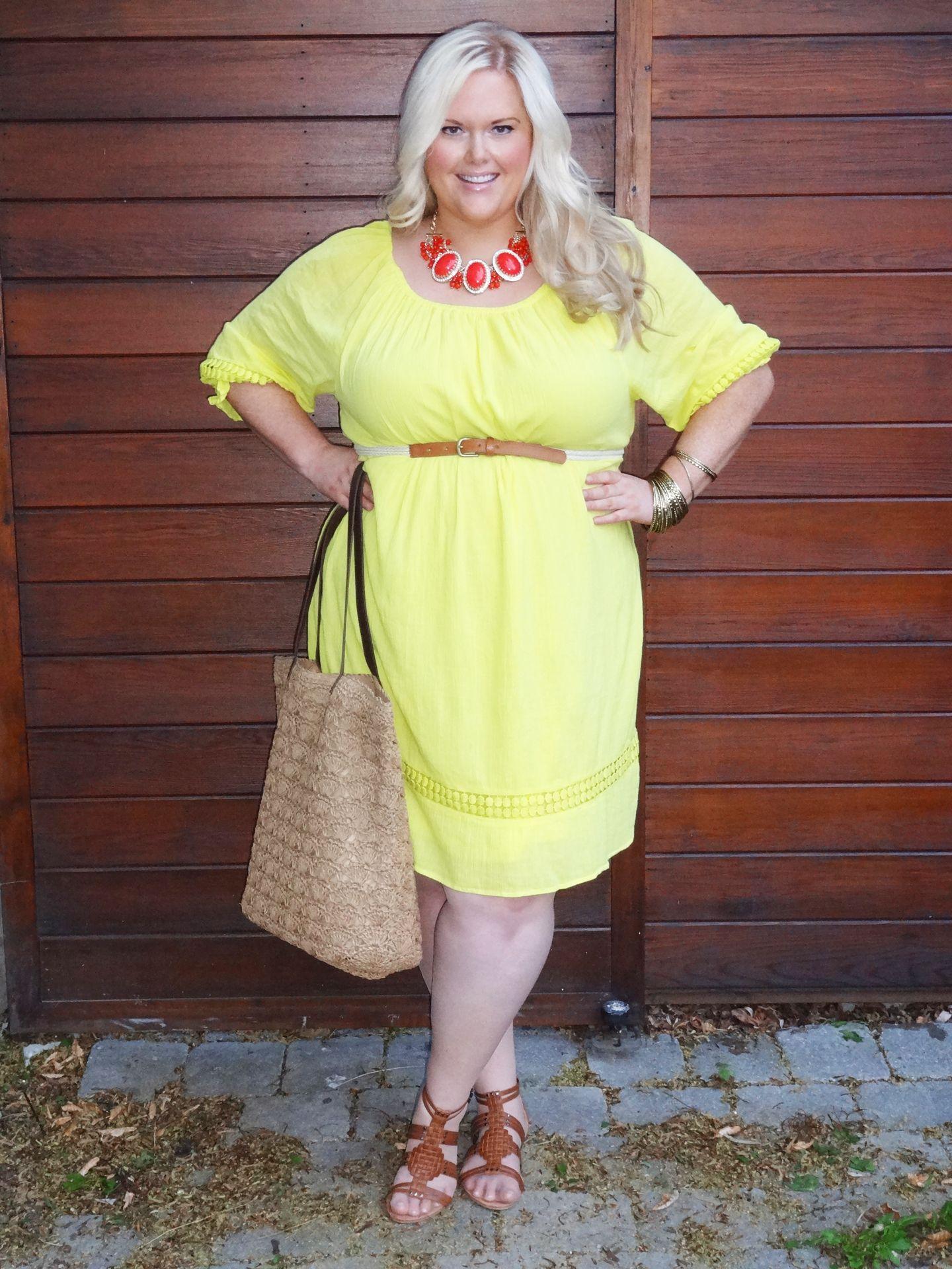 Gauze peasant dress lane bryant This is a pretty yellow dress! I ...