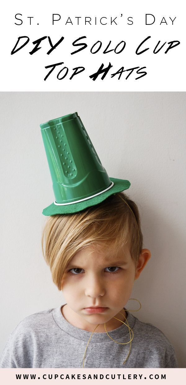 These easy DIY Solo cup top hats are the perfect St. Patrick's Day craft for kids! How cute is my little leprechaun?! I promise he loves his hat... #stpatricksday #diyproject #cupcakesandcutlery #kidscrafts #doityourself