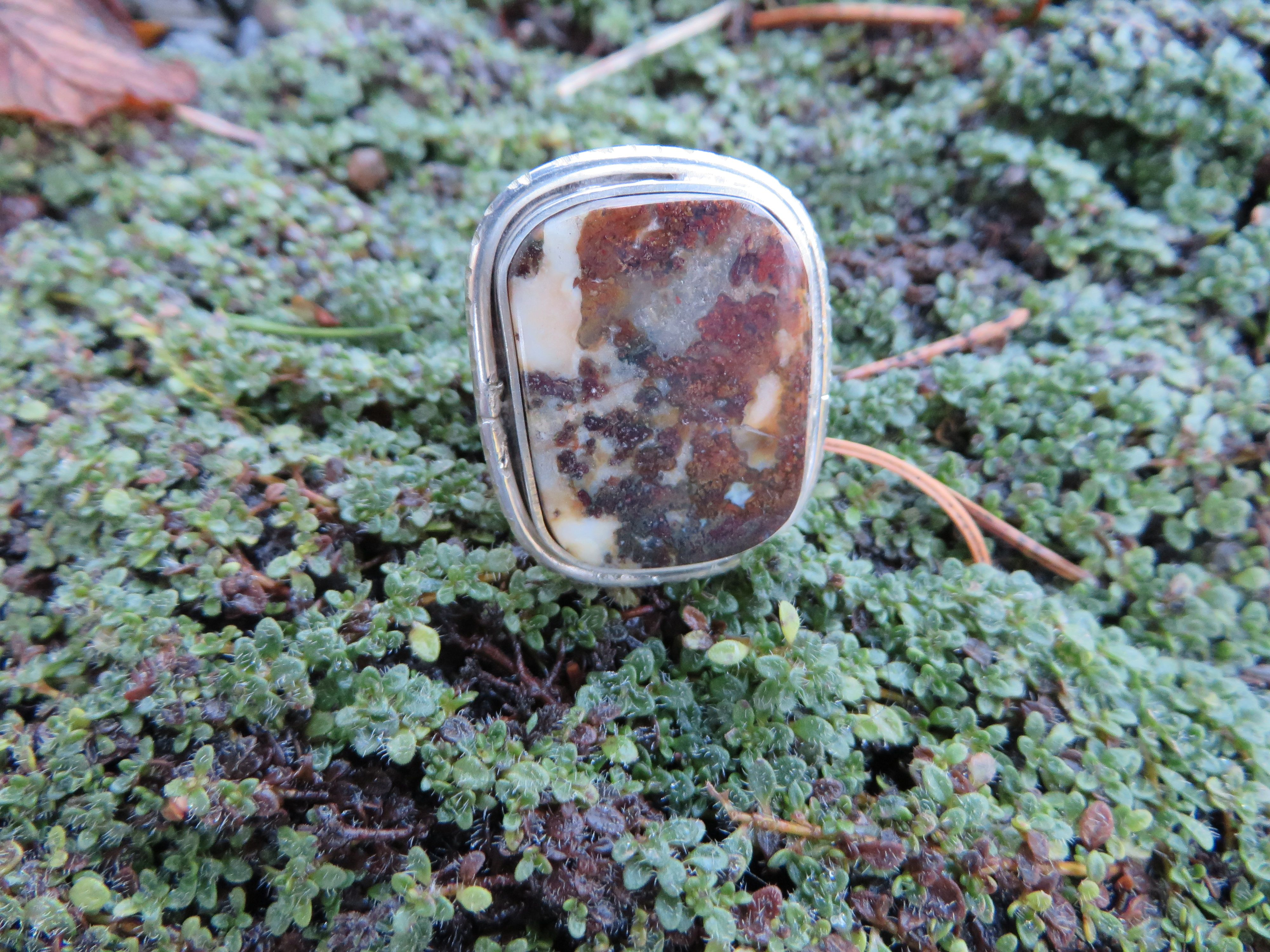 Large statement ring, jasper set in silver with distressed edges, #290, size 8 by Sandy River Jewelry