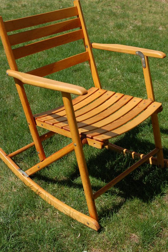 Antique Telescope Folding Maple Rocking Arm Chair Portable