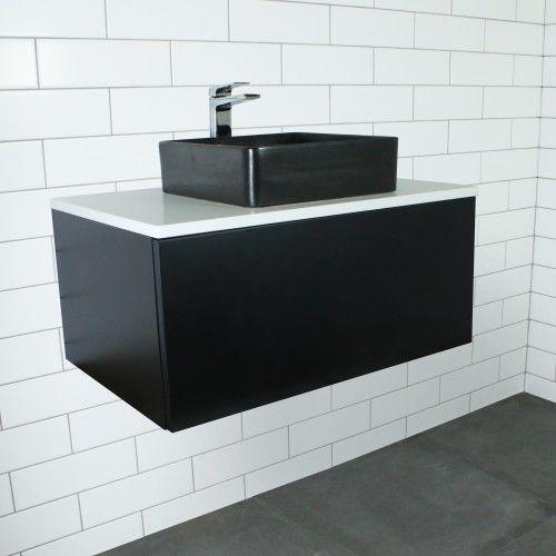 Eden Matte Black Wall Mount Vanity Cabinet without Top 750mm