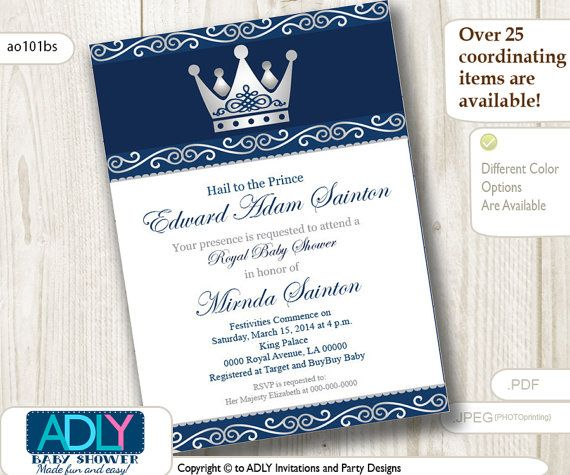 silver blue little prince royal baby shower invitation, prince diy, Baby shower invitations