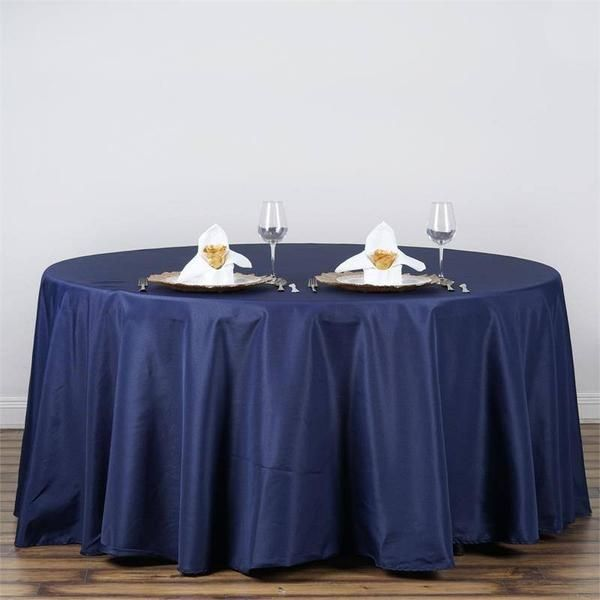 120 Navy Blue Polyester Round Tablecloth With Images Round