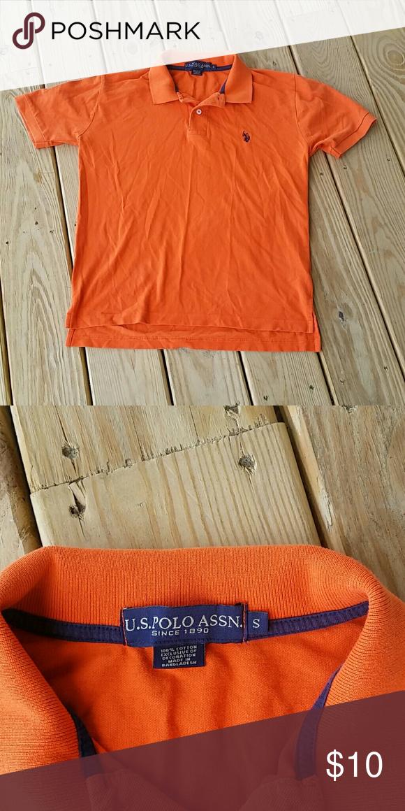 U S Polo Association Orange Polo Size S Euc Polo Association Polo Clothes Design