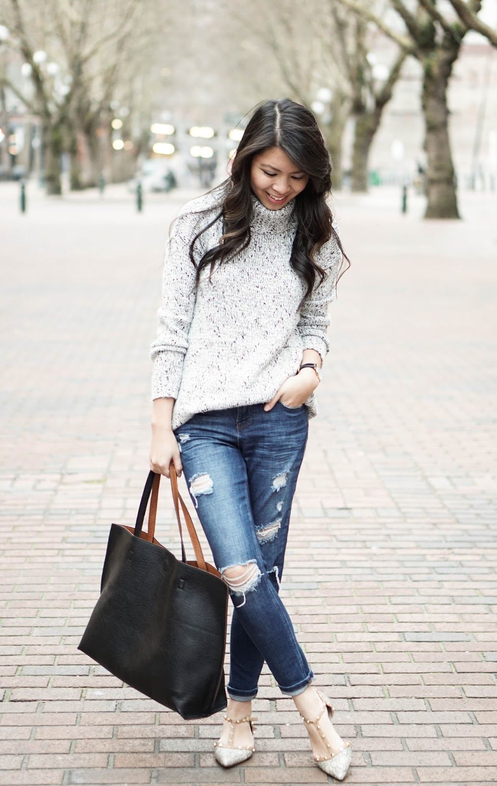 Forever21 sweater, Topshop ripped jeans, affordable tote, and Valentino-inspired flats from Nordstrom Halogen