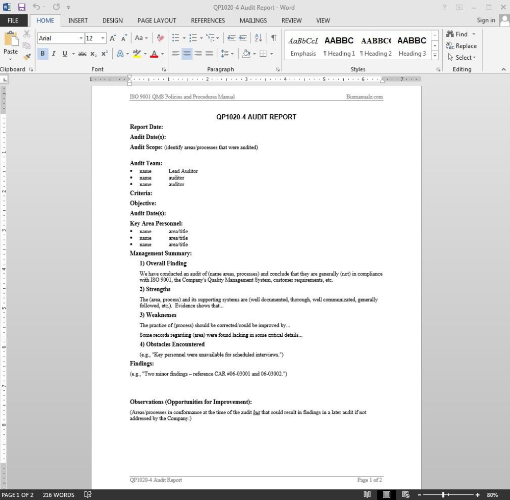 Audit Report Iso Template Inside Internal Audit Report