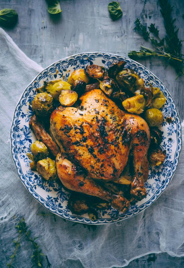 Roast Chicken With Brussels Sprouts Recipe Live Tastefully