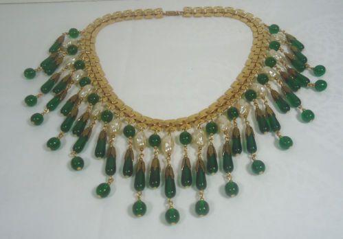 Vtg Miriam Haskell Drip Bib Necklace Baroque Pearls Green Glass Beads | eBay