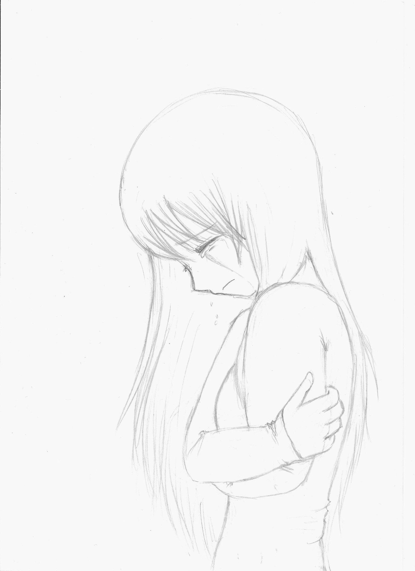 Crying girl sketch crying girl drawing anime girl crying sad anime girl