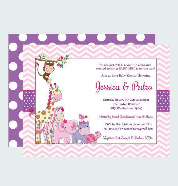 Pink Jungle Baby Shower Invitations Girls Modern Adorable Safari