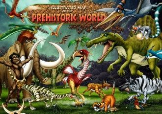 Illustrated Map Of The Prehistoric World Collage For Kids