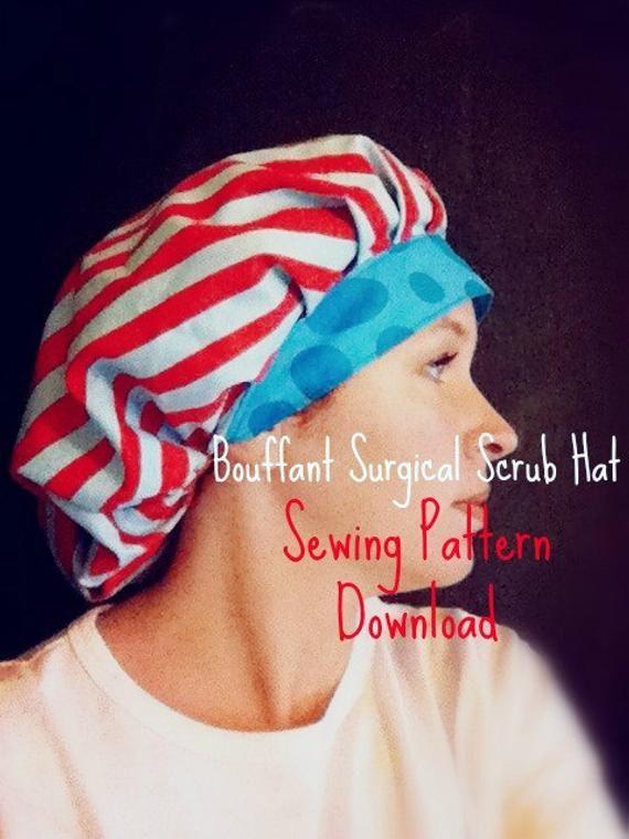 Scrub Hat Sewing Pattern DIY Bouffant Surgical Scrub Hat Cap  6570d88fe2a