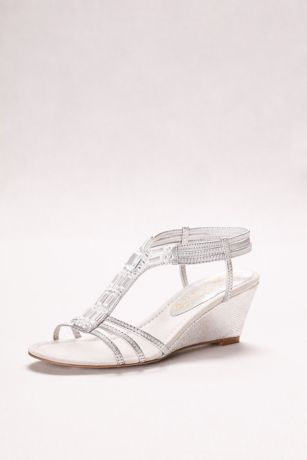 cf8c94058ba0 Metallic wedge sandal with jeweled t-strap and elastic bands for stretch  and a comfortable