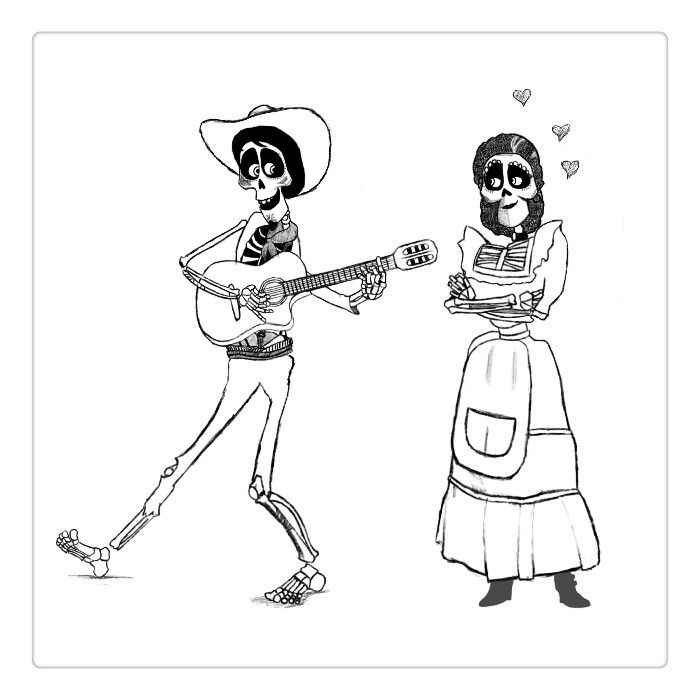 Free Disney Coco Coloring Pages Fanart By Paigee Printable For Kids And Adults Coloring Pages Love Drawings Drawings