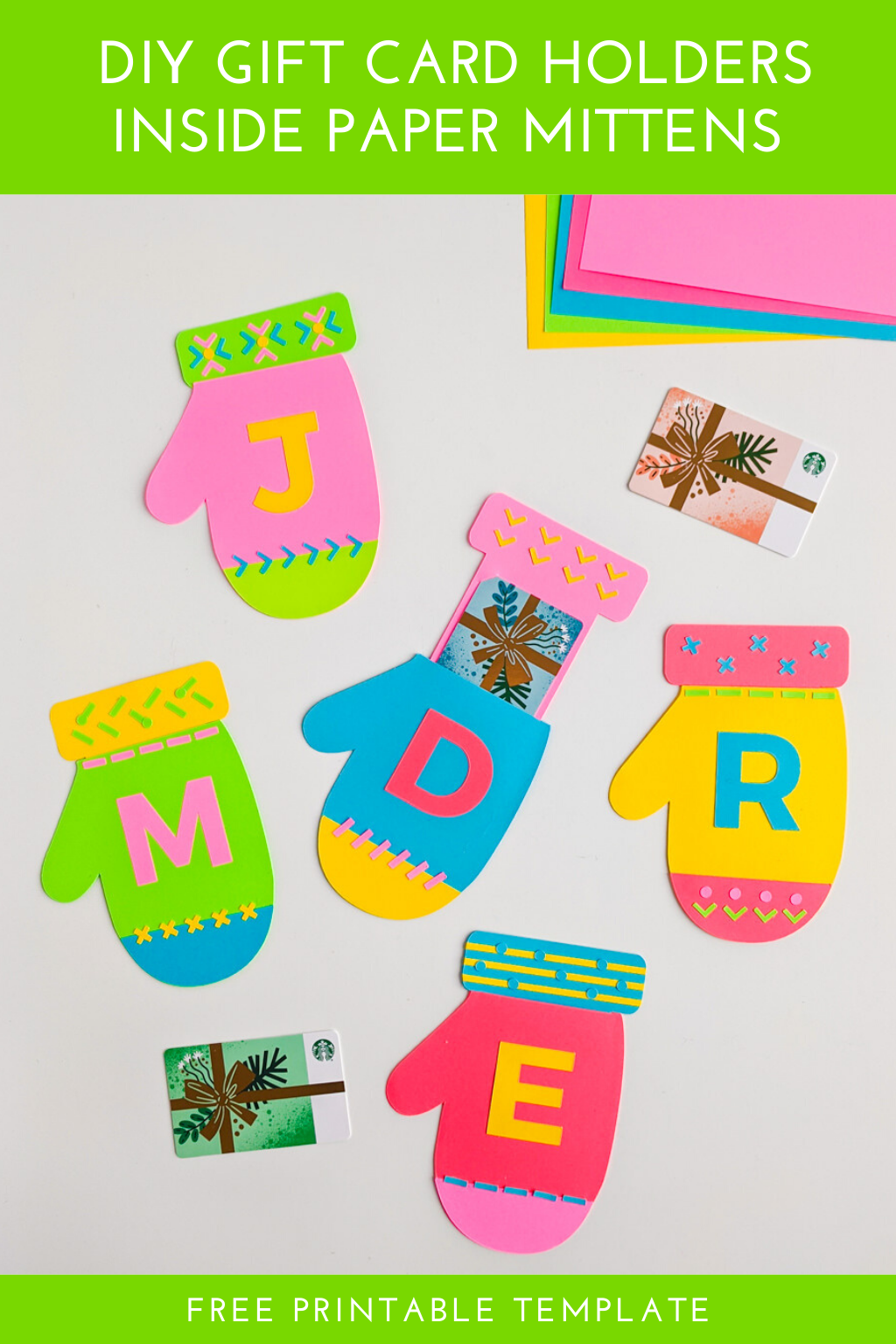 Diy Christmas Gift Card Holder Printable Mittens Template Gift Card Holder Christmas Gift Card Holders Gift Card Holder Template