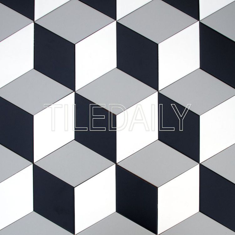 Diamond Cube Illusion Ceramic Wall Tile Grey Black And White Cube Tiles Interiordesign Retaildesign Hospitalitydesign Black Dinding Kotak Kertas Dinding