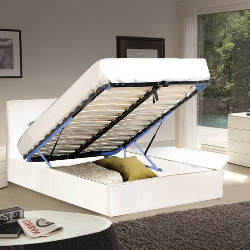 Sabina King Gas Lift PU Leather Bed Frame in White | Buy New ...