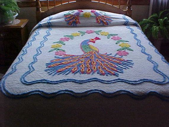 BONUS Sq. PeAcOcKs iN PaRaDiSe by Charlotte/'s Cozy Chenille Squares 32 Vintage Chenille Bedspread Quilt Squares