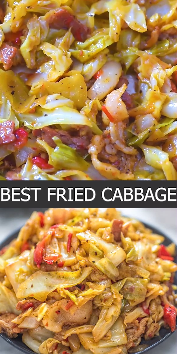 The Best Fried Cabbage -  This Fried Cabbage recipe is insanely good! Made with bacon, onion, bell