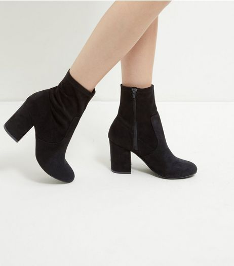 0a61f2d444d5 Black Suedette Block Heel High Ankle Boots