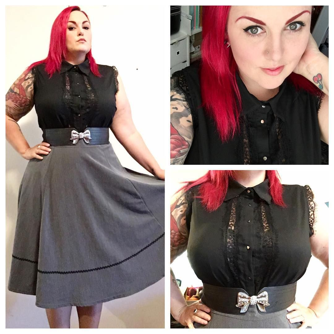 Monday OOTD - @citychiconline top and belt, @steadyclothing skirt #plussizepinup #quirkyandcurvy #plussizeOOTD #curvy #honormycurves #vintagestyle #retrostyle #redhair #citychic #sydneycurvettes