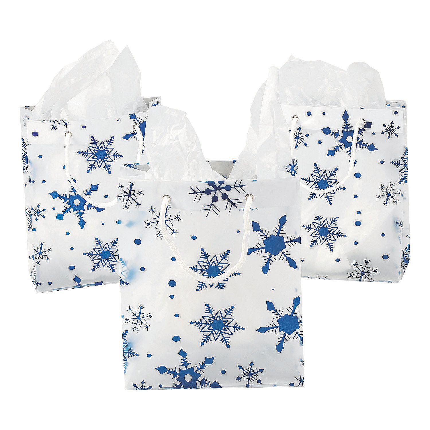 Medium+Clear+Gift+Bags+with+Snowflakes++OrientalTrading